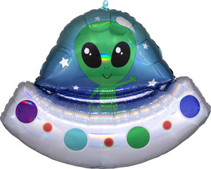 "28"" Alien Space Ship Iridescent - Flat"