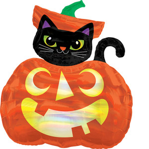 "27"" Iridescent Cat and Pumpkin"