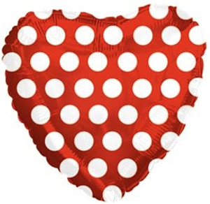 "18"" Red Heart with White Polka Dots"