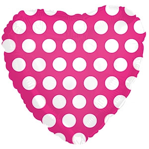 "18"" Heart - Hot Pink with White Polka Dots"