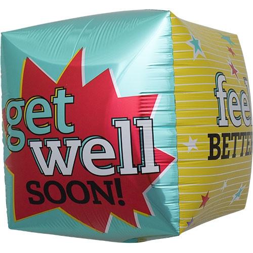 "17"" Get Well Feel Better (Cube)"