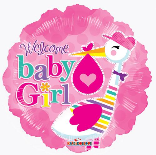 """18"""" Baby Girl Stork"""