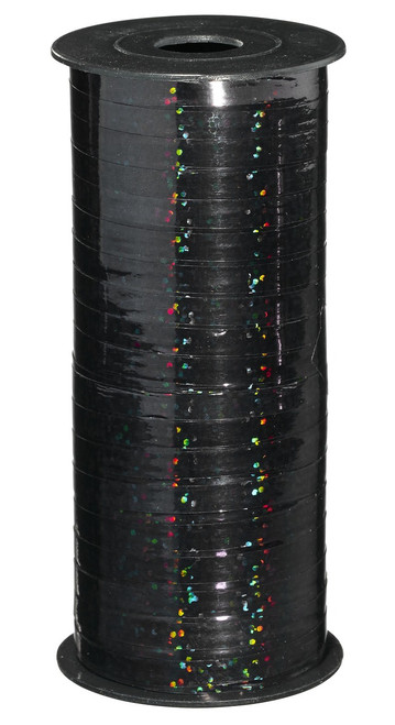 Holographic Black Curling Ribbon