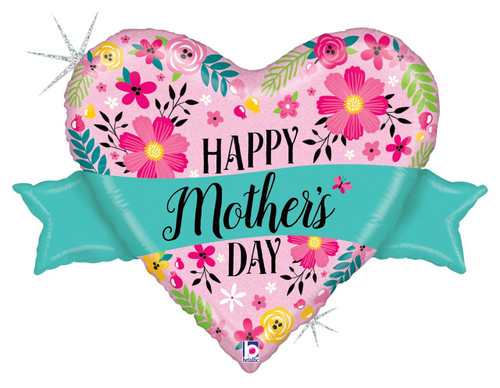 "32"" Glitter Mom's Day Banner Shape"