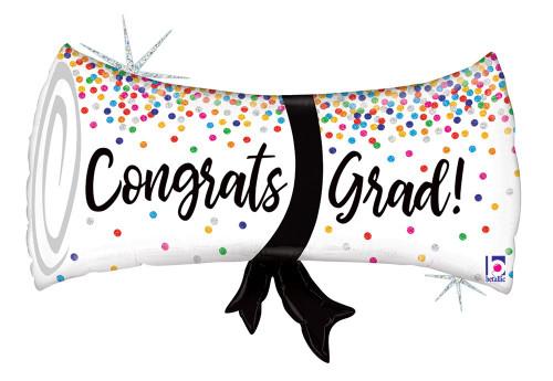 """31"""" Grad Confetti Diploma Holographic"""