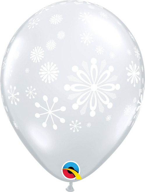 "11"" Qualatex Contemporary Snowflakes Latex - 50 Ct."