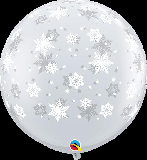 "36"" Qualatex Clear Snowflake/ Sparkle-A-Round Latex 2 Ct."