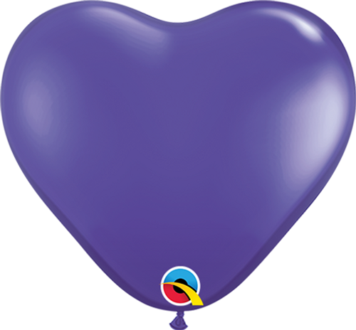 "6"" Qualatex Purple Violet Heart - 100 Ct."