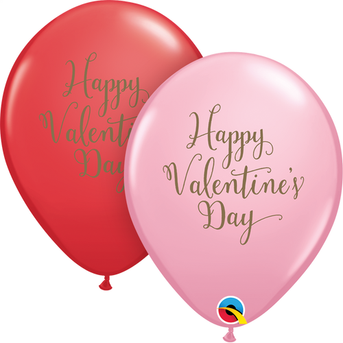 "11"" Qualatex Happy Valentine's Day Script - 50 Ct."