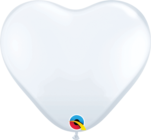 "6"" Qualatex White Hearts - 100 Ct."