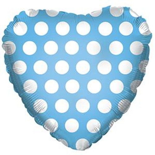 "18"" Blue Heart with White Polka Dots"