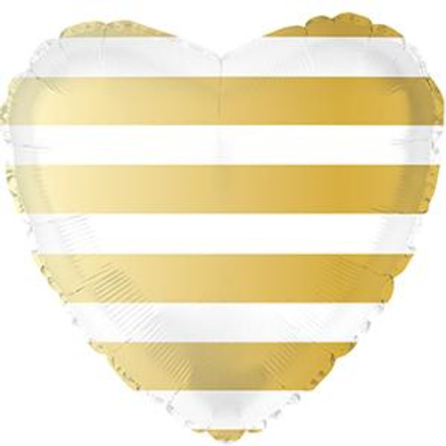 "18"" Gold Stripe Heart"