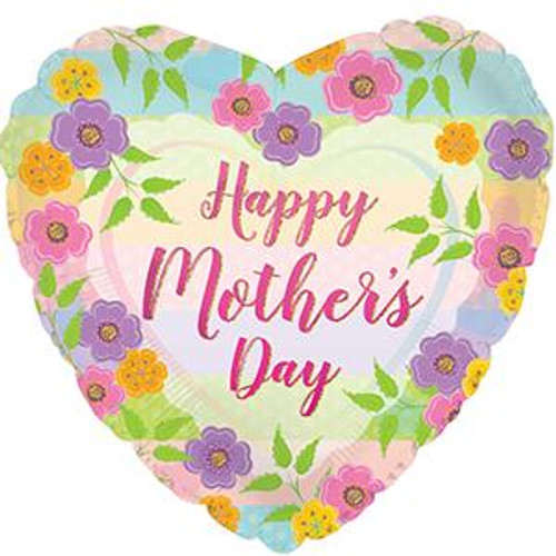 """18"""" Happy Mother's Day Floral Stripes"""