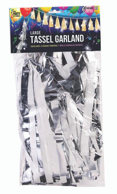 Large Balloon Tassel - Metallic Silver and White