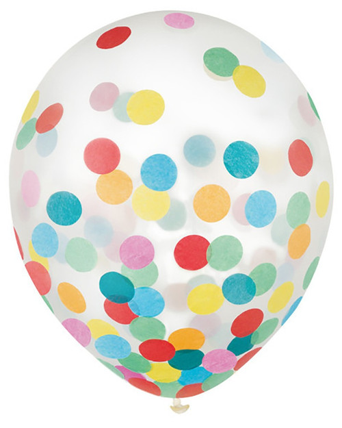 "12"" Multi-Color Confetti Latex 6 ct"
