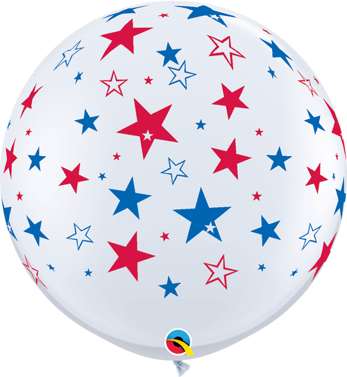 "36"" Qualatex Red & Blue Stars Latex Balloons 2 ct"