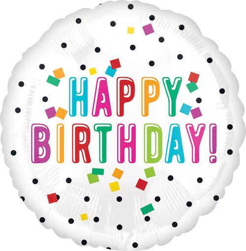 """18"""" Happy Birthday Colorful Confetti"""