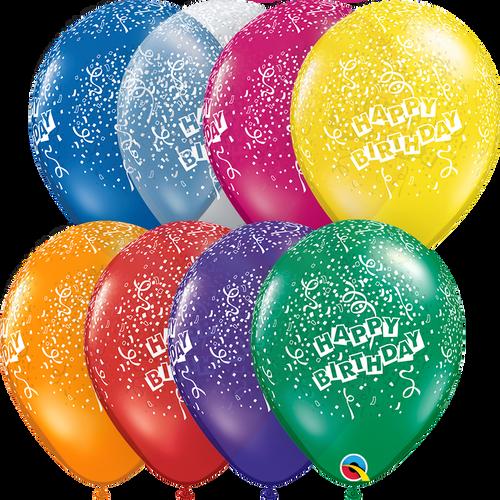 "11"" Qualatex Happy Birthday Jewel Assortment - 50 Ct."