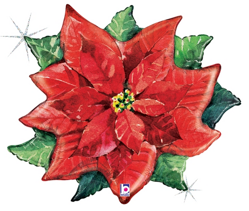 "34"" Holographic Watercolor Poinsettia"