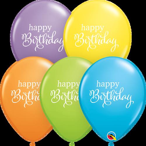 "11"" Qualatex Simply Happy Birthday Assortment - 50 Ct."