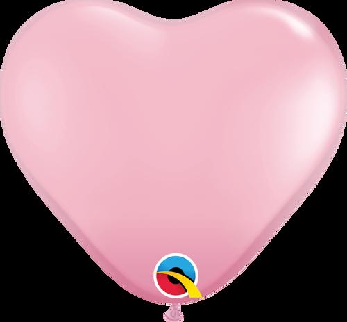 "11"" Qualatex Pink Heart Latex - 100 Ct."