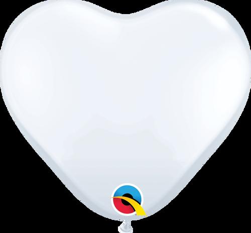 """11"""" Qualatex White Heart Latex - 100 Ct."""