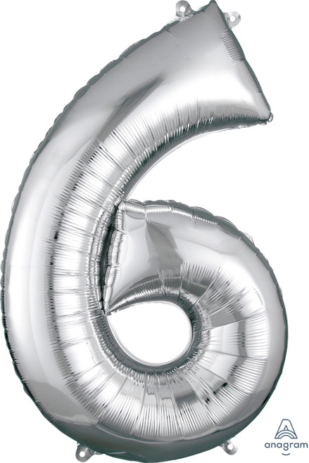 "34"" Silver Number ""6"""