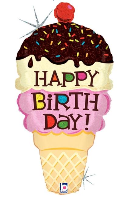 """33"""" Birthday Ice Cream Cone"""