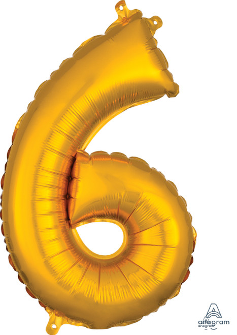 """16"""" Number """"6"""" Gold - AIR FILL"""