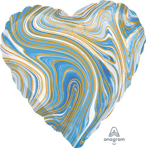 "17"" Blue Heart Marblez - 1 Ct."