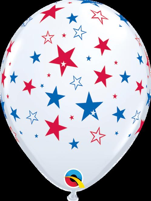 "11"" Qualatex Red & Blue Stars Latex Balloons - 50 Ct."