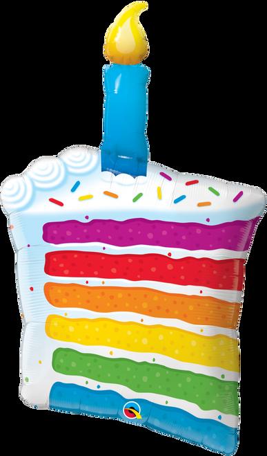 """42"""" Rainbow Cake & Candle"""