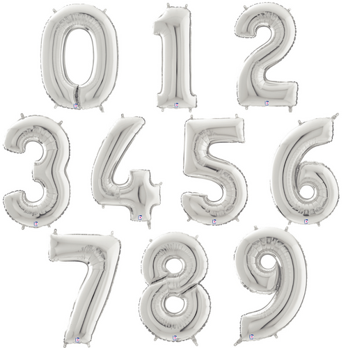 """14"""" Silver Numbers - AIR FILL"""
