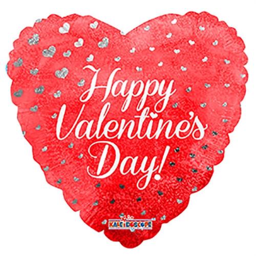"18"" Happy Valentine's Day Hearts Holographic"