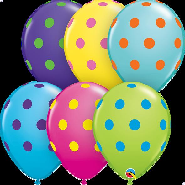 "11"" Qualatex Big Polka Dots Colorful - 50 Ct."