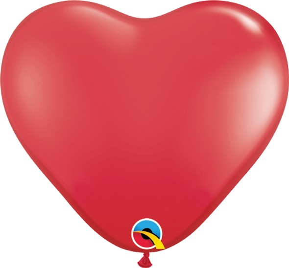 """6"""" Qualatex Red Hearts - 100 Ct."""