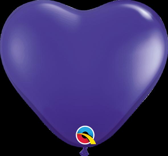 "6"" Qualatex Purple Violet Heart - 100 Ct."