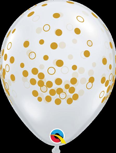 "11"" Qualatex Gold Confetti Dots - 50 Ct."