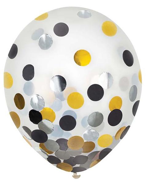 """12"""" Black, Silver, Gold Confetti Latex 6 ct"""