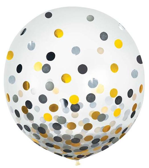 """24"""" Black, Silver, Gold Confetti Latex 2 ct"""