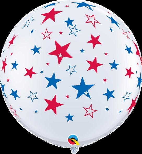 "36"" Qualatex Red & Blue Stars Latex Balloons 2 ct"