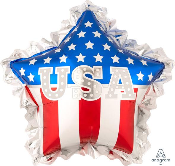 """34"""" USA Star Ruffle Shape"""