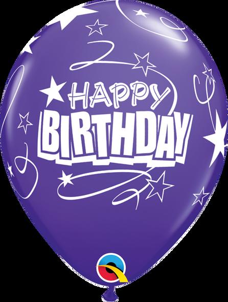 "11"" Qualatex Birthday Loops and Stars - 50 Ct."