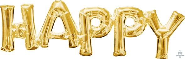 "30"" Phrase ""Happy"" Gold - AIR FILL"