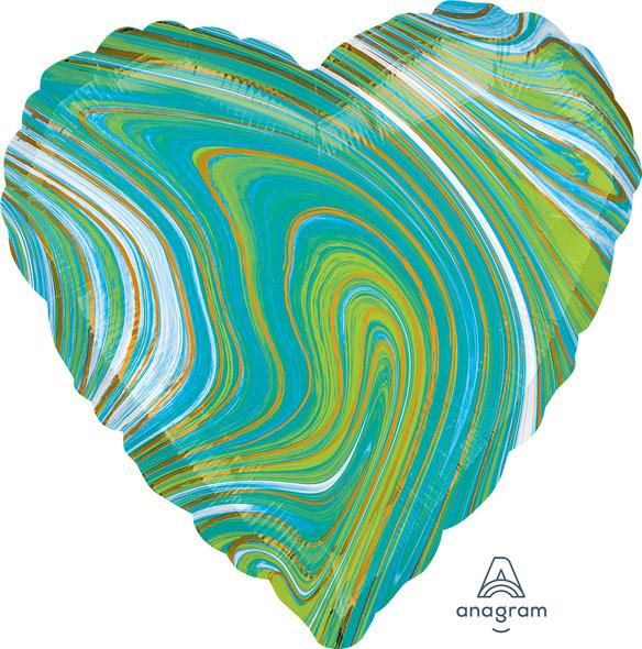 """17"""" Blue Green Heart Marblez - 1 Ct."""