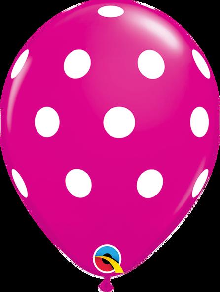 """11"""" Qualatex Big Polka Dots Wild Berry - 50 Ct."""