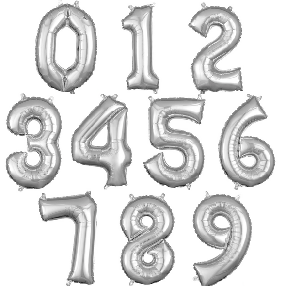 """16"""" Silver Numbers - AIR FILL"""