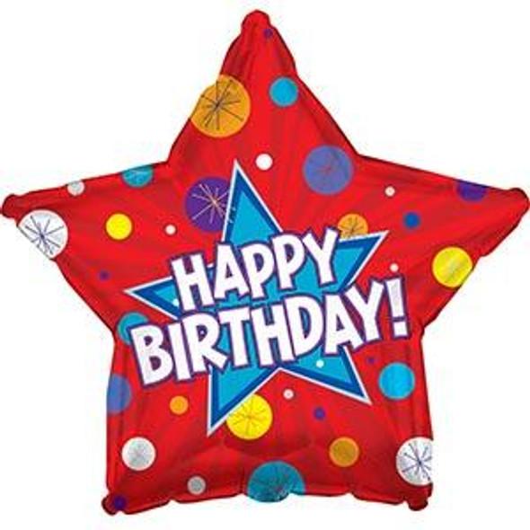 "17"" Happy Birthday Dynamic Star"