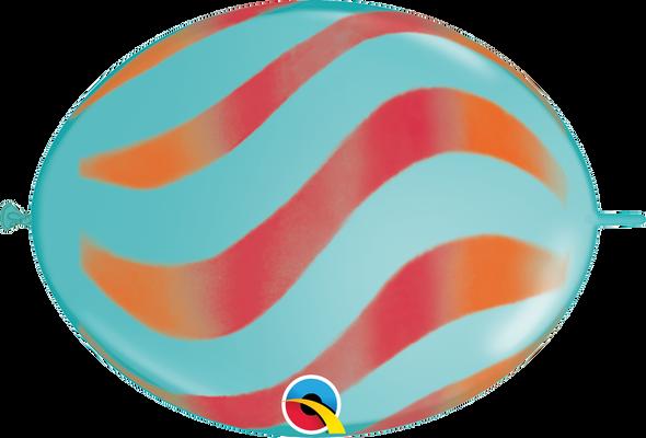 "12"" QuickLink Caribbean Blue with Orange/Red - 50 Ct."