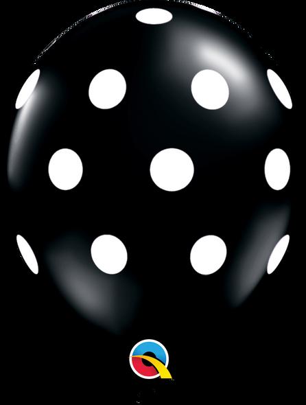 "11"" Qualatex Big Polka Dots Black - 50 Ct."